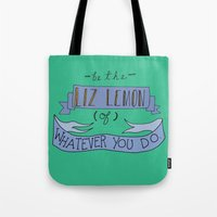 jenny liz rome Tote Bags featuring Liz Lemon by Illustrated by Jenny