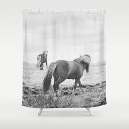 Modern Animal Print, Icelandic Horses Shower Curtain