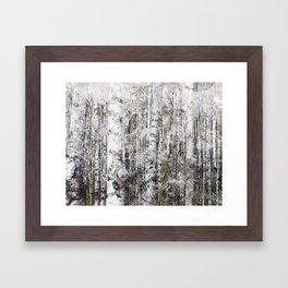Abstract Silver Grunge Birch Framed Art Print