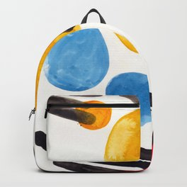 Mid Century Modern Abstract Juvenile childrens Fun Art Primary Colors Watercolor Minimalist Pop Art Backpack