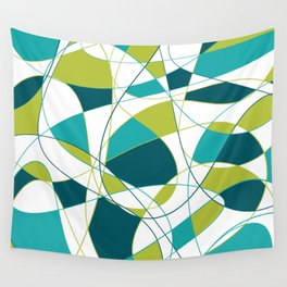 Modern Abstract Retro Green and Teal Art Wall Tapestry
