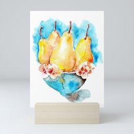 Ripe pears fruit in blue vase drawing by watercolor Mini Art Print