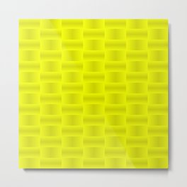 Stylish graphic pattern with iridescent squares and yellow squares in a checkerboard pattern. Metal Print