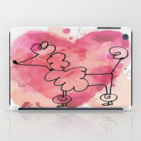 poodle iPad Cases featuring Pink Poodle by Vintage Fox