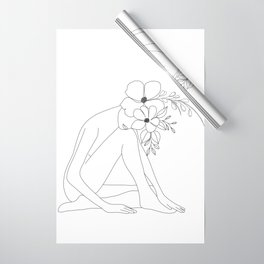 Minimal Line Art Nude Woman with Flowers Wrapping Paper