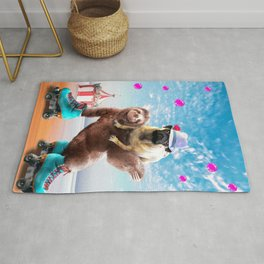 Pug Sloth - Cute Funny Pug Riding Skating Sloth Rug