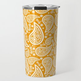 Paisley (White & Orange Pattern) Travel Mug