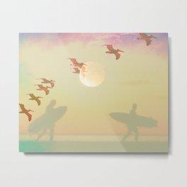 Moonlight Surfers Metal Print