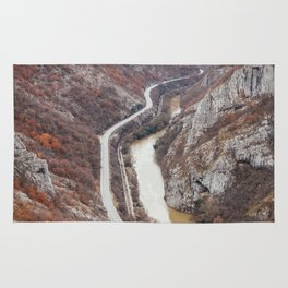 Beautiful picture of the canyon in Serbia. Dramatic sky and mountains Rug