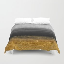 Black and Gold grunge stripes on modern grey concrete abstract background - Stripe -Striped Duvet Cover