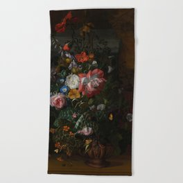 Rachel Ruysch - Roses, Convolvulus, Poppies and other flowers in an Urn on a Stone Ledge (1680) Beach Towel