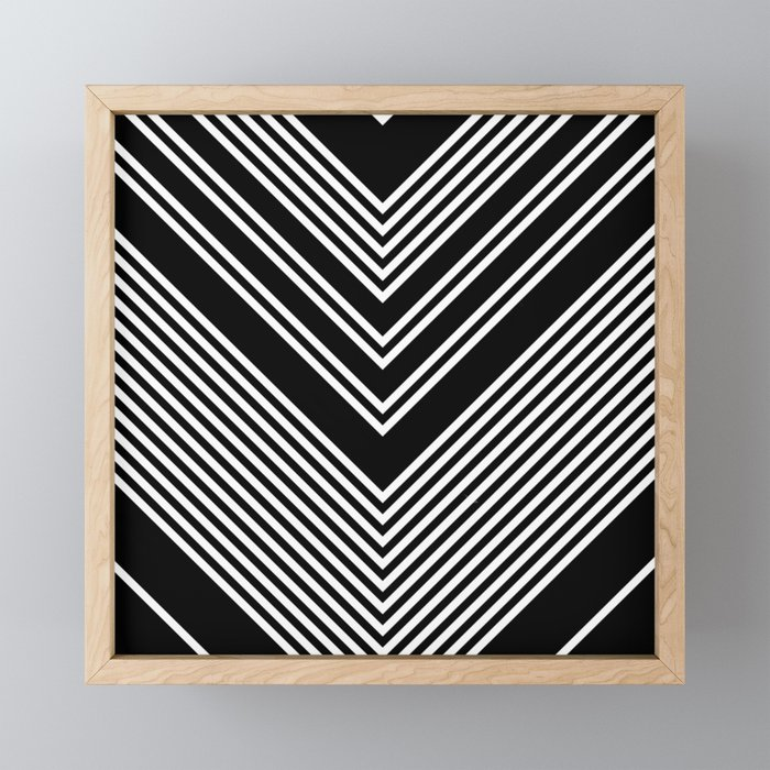 Back and White Lines Minimal Pattern no.2 Framed Mini Art Print