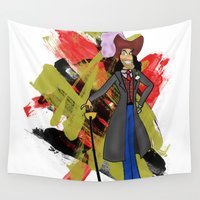 hook Wall Tapestries featuring Disneyland Captain Hook - Evil Relations by Joey Noble