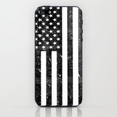 Dirty Vintage Black and White American Flag iPhone & iPod Skin