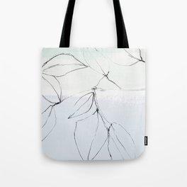 leaves on pastel blue & mint Tote Bag