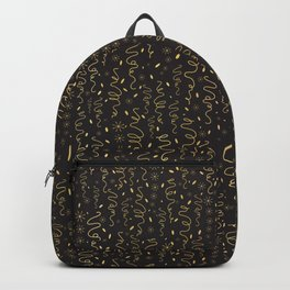Luxury Black Gold Party Streamers Pattern Seamless Vector Backpack