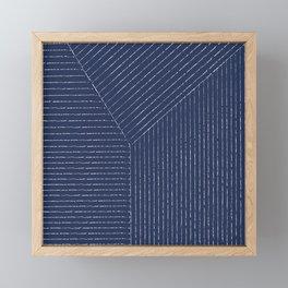 Lines / Navy Framed Mini Art Print