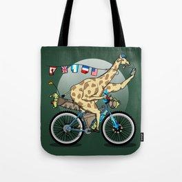 Giraffe riding a mountainbike Tote Bag