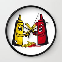 fries Wall Clocks featuring Fries wars by pludadesign