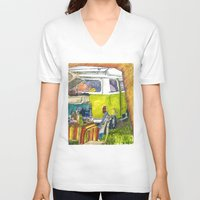 volkswagon V-neck T-shirts featuring VW Bus Campsite by Barb Laskey Studio