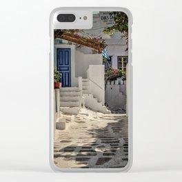 Eva's Cafe Mykonos Clear iPhone Case