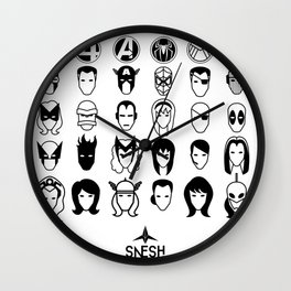 Superheroes pictograms Wall Clock