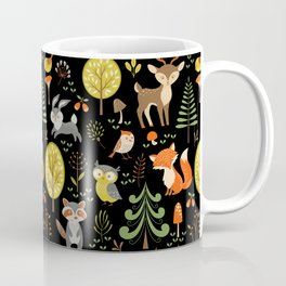 Cute Colorful Wood Animals In Forest Coffee Mug