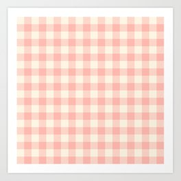 PASTEL GINGHAM 02, blush pink squares Art Print