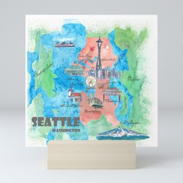 Seattle Washington Travel Poster Favorite Map Mini Art Print