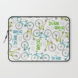 Watercolor Blue and Green Bikes Laptop Sleeve