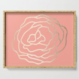 Flower in White Gold Sands on Salmon Pink Serving Tray