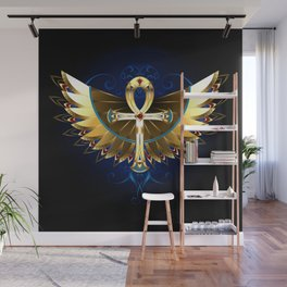 Gold Ankh with Wings Wall Mural