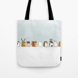 Winter forest animals Tote Bag