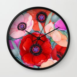Poppy and Olive Watercolor  Wall Clock