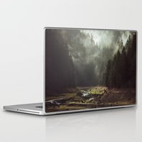 dark Laptop & iPad Skins featuring Foggy Forest Creek by Kevin Russ