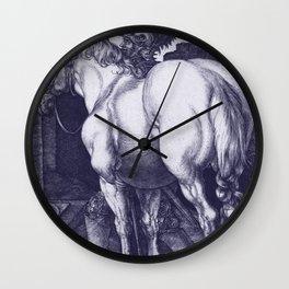 """Albrecht Dürer """"Large Horse"""" edited blue Wall Clock"""