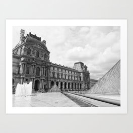 louvre black and white Art Print