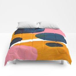 Mid Century Modern Abstract Minimalist Retro Vintage Style Pink Navy Blue Yellow Rollie Pollie Ollie Comforters