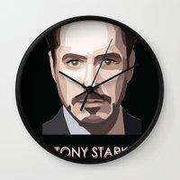 tony stark Wall Clocks featuring Tony Stark by Lany Nguyen