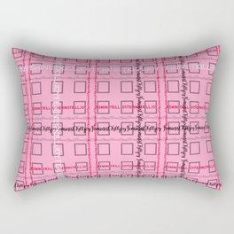 Pink and Grey 'Feminist Killjoy' Tartan Text Pattern Rectangular Pillow