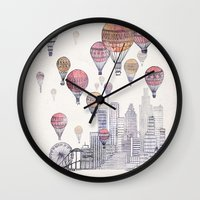 santa monica Wall Clocks featuring Voyages Over Santa Monica by David Fleck