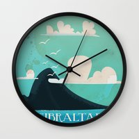 travel poster Wall Clocks featuring Gibraltar vintage Travel poster by Nick's Emporium Gallery
