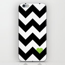 Heart & Chevron - Black/Green iPhone Skin