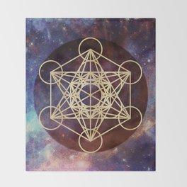 Metatron Mandala Moon Gold Bronze Copper Throw Blanket