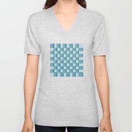 Chess Pattern in Blue Shades Unisex V-Neck