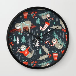Slothy Holidays Wall Clock