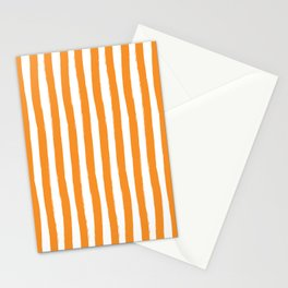 Orange and White Cabana Stripes Palm Beach Preppy Stationery Cards
