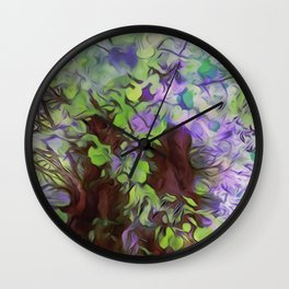 Old Tree Thick Branches Green & Blue Colors Wall Clock