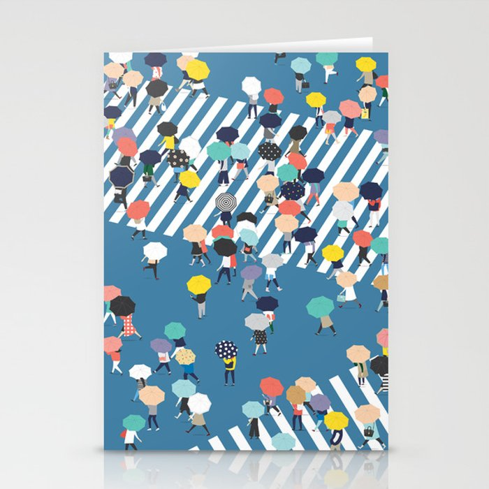 Crossing The Street On a Rainy Day - Blue Stationery Cards