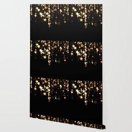 Gold Glam Stars Black Christmas Festive Pattern Wallpaper